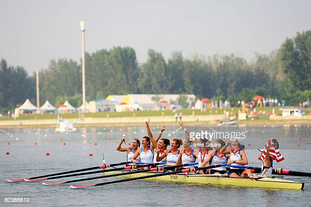 The United States team celebrate the gold medal in the Women's Eight Final at the Shunyi Olympic Rowing-Canoeing Park during Day 9 of the Beijing...