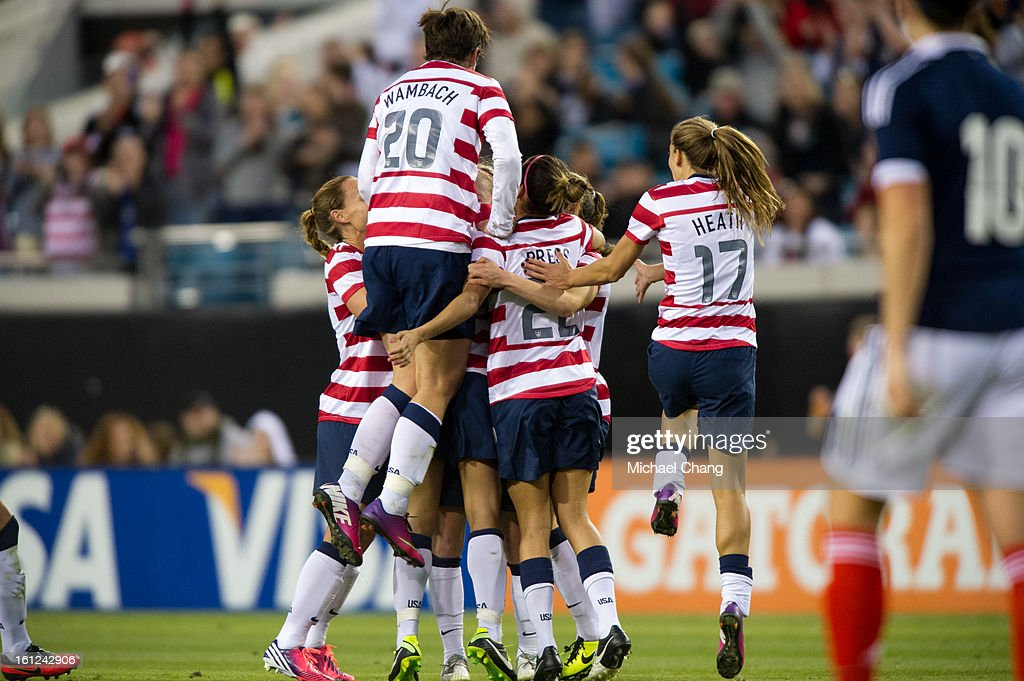 The United States team celebrates after scoring against Scotland at EverBank Field on February 9, 2013 in Jacksonville, Florida. The United States defeated Scotland 4-1.