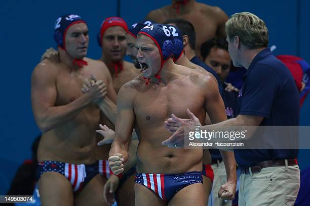 The United States team celebrates winning the Men's Water Polo Preliminary Round Group B match against Montenegro on Day 2 of the London 2012 Olympic...