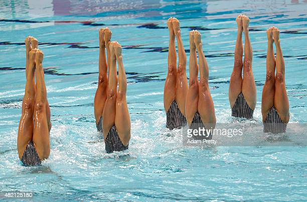 The United States team competes in the Women's Team Technical Synchronised Swimming Final on day three of the 16th FINA World Championships at the...