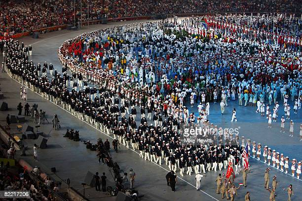 The United States team enter the stadium during the Opening Ceremony for the 2008 Beijing Summer Olympics at the National Stadium on August 8 2008 in...