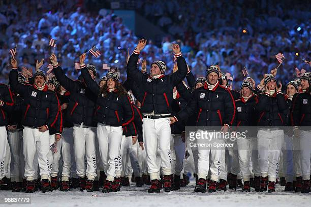 The United States team enter the stadium during the Opening Ceremony of the 2010 Vancouver Winter Olympics at BC Place on February 12 2010 in...