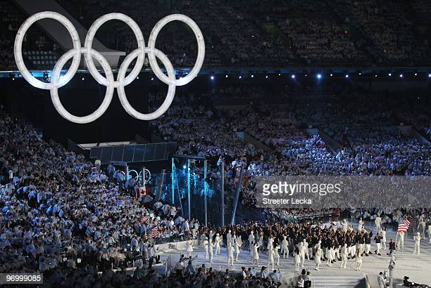 The United States team enters the stadium during the Opening Ceremony of the 2010 Vancouver Winter Olympics at BC Place on February 12 2010 in...
