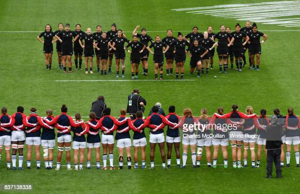 The United States team fae up to the New Zealand Haka prior to kickoff during the Women's Rugby World Cup 2017 Semi Final match between New Zealand...