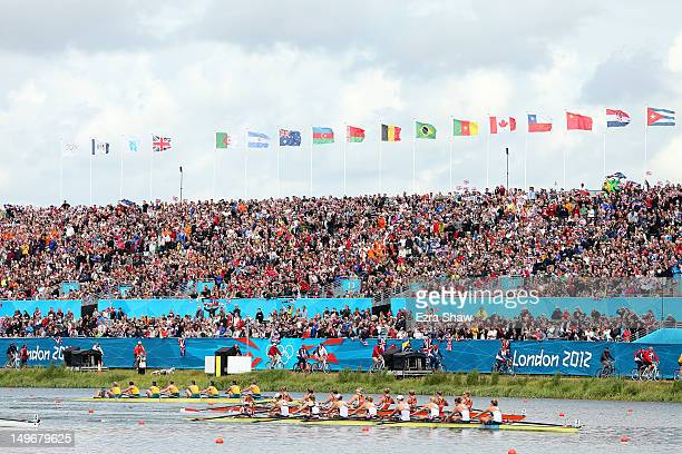 The United States team leads the Netherlands team during the Women's Eight final on Day 6 of the London 2012 Olympic Games at Eton Dorney on August...