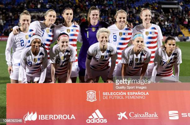 The United States team line up looks on prior before the Women's International Friendly match between Spain and The United States at Estadio Jose...