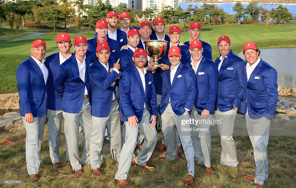The United States team pose with the Presidents Cup after their 15.5 to 14.5 win during the Sunday singles matches in the 2015 Presidents Cup at the Jack Nicklaus Golf Club Korea on October 11, 2015 in Incheon, South Korea.