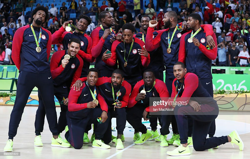 The United States team pose with their Gold medals after the final match of the Men's basketball between Serbia and United States on day 16 at Carioca Arena 1 on August 21, 2016 in Rio de Janeiro, Brazil.