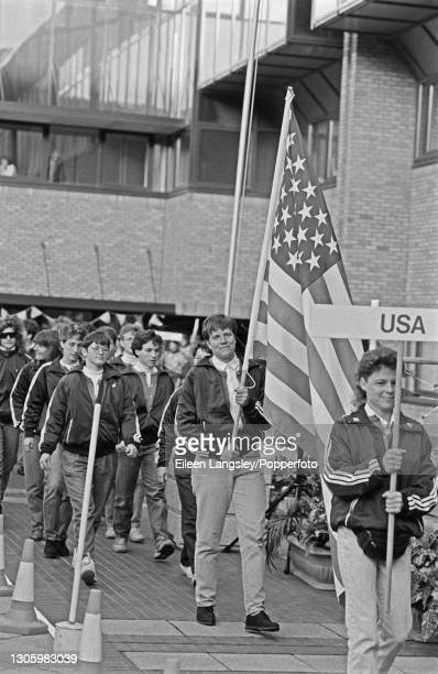 The United States team squad follow their flag bearer out for the opening ceremony of the first Women's Rugby World Cup tournament in Cardiff, Wales...