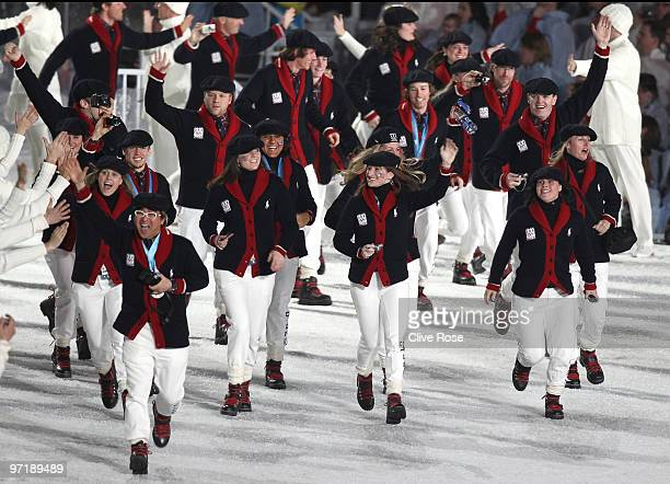 The United States Team walks through the stadium during the Closing Ceremony of the Vancouver 2010 Winter Olympics at BC Place on February 28 2010 in...