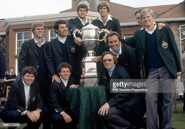 The United States team with the trophy after winning the Walker Cup golf competition held at the Muirfield Golf Links Scotland circa September 1979...