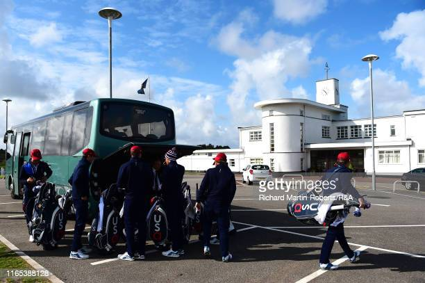 The United States Walker Cup team arrive for a practice round at Royal Birkdale Golf Club prior to the 2019 Walker Cup on September 1 2019 in...