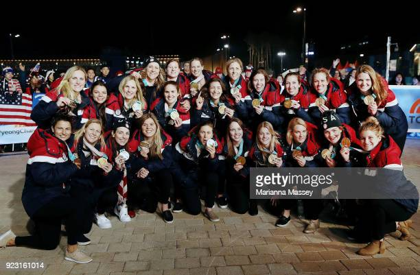 The United States Women's Hockey Team pose for a photo with their gold medals on the Today Show Set on February 22 2018 in Gangneung South Korea