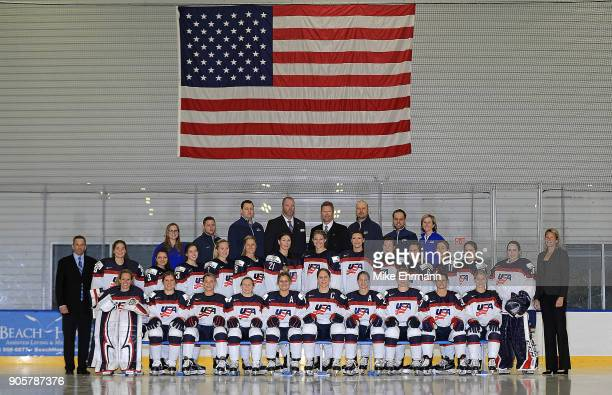 The United States Women's Hockey Team pose for a team photo on January 16, 2018 in Wesley Chapel, Florida.