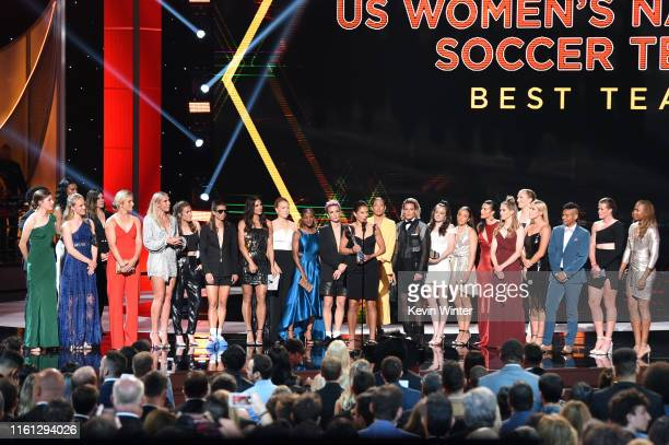 The United States Women's National Soccer Team accepts the Best Team award onstage during The 2019 ESPYs at Microsoft Theater on July 10 2019 in Los...