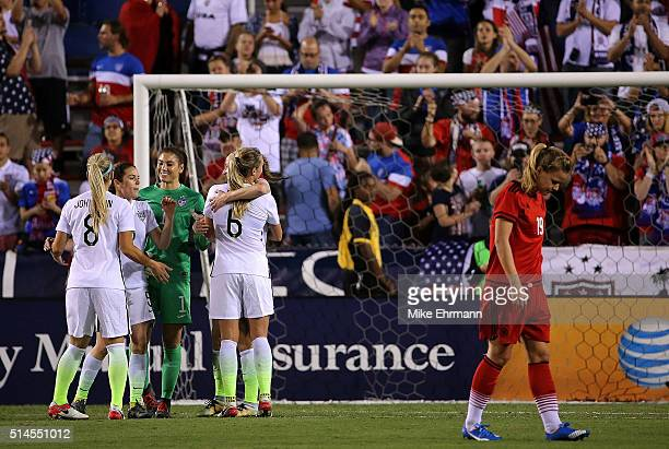The United States Womens National team celebrates winning the 2016 SheBelieves Cup against Germany at FAU Stadium on March 9 2016 in Boca Raton...