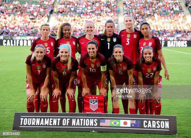 The United States women's national team pose for a photo before their match against Japan during the 2017 Tournament Of Nations at StubHub Center on...