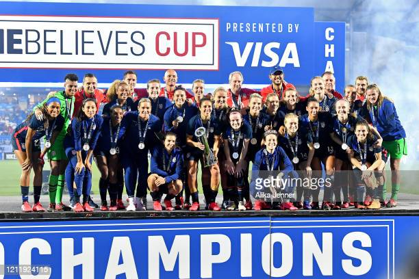 The United States Women's National team stand on the champions stage after winning the SheBelieves Cup by defeating Japan 31 at Toyota Stadium on...