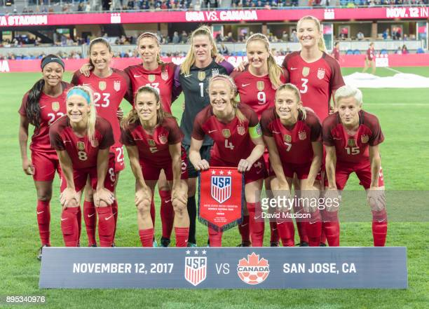 The United States Women's National Team starters pose for a team photo prior to an international friendly against Canada on November 12 2017 at Avaya...