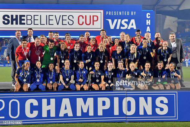 The United States women's national team take on the championship stage after the SheBelieves Cup match against Japan at Toyota Stadium on March 11...