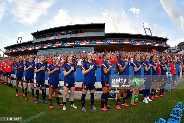 The United States women's soccer team sing the national anthem before the SheBelieves Cup match against the Japan at Toyota Stadium on March 11 2020...