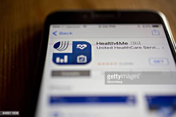 The UnitedHealthcare Health4Me application a segment of UnitedHealth Group Inc is seen in the App Store on an Apple Inc iPhone in Washington DC US on...