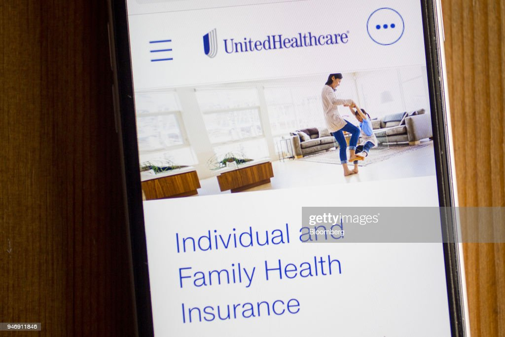 The UnitedHealthcare website, the health benefits segment of UnitedHealth Group Inc., is displayed on an Apple Inc. iPhone in Washington, D.C., U.S., on Wednesday, April 11, 2018. UnitedHealth is expected to release earnings figures on April 17. Photographer: Andrew Harrer/Bloomberg via Getty Images