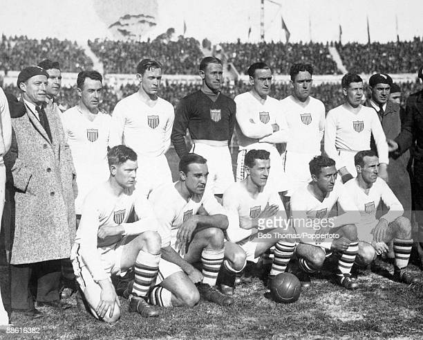 The Unites States team before the FIFA World Cup SemiFinal match against Argentina at the Estadio Centenario in Montevideo 26th July 1930 Agrentina...
