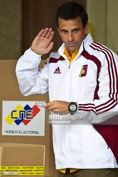 The Unity candidate Henrique Capriles votes in Santo Tomas de Villanueva school on April 14 2013 in Caracas Venezuela