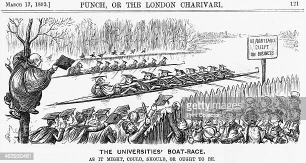 'The Universities' BoatRace' 1883 In this illustration of the University Boat Race a group of cheering students are enabled to maintain a proper...