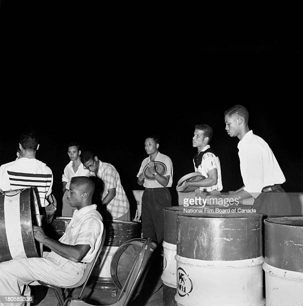 The University College of the West Indies Steel Band provides music for an informal dance taking place at the student union, Mona , Jamaica, August...