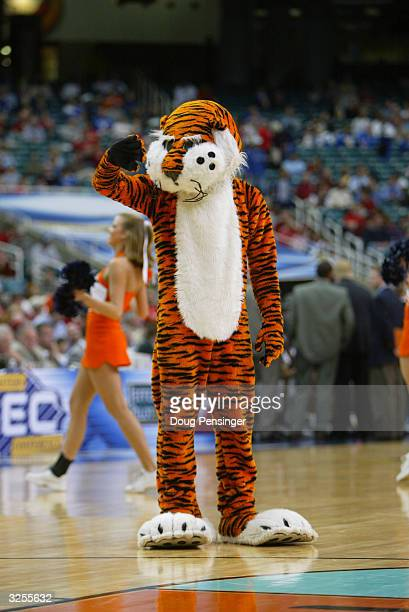 The University of Auburn Tigers mascot, Aubie, waves to the fans during the SEC Men's Basketball Tournament against the University of Georgia...