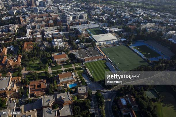 The University of California Los Angeles campus stands empty in this aerial photograph taken above Los Angeles, California, U.S., on Friday, May 1,...