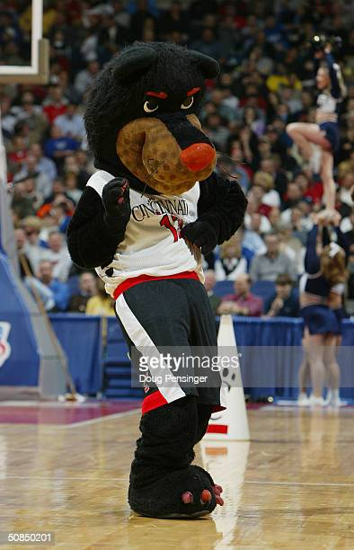The University of Cincinnati Bearcats mascot performs during the first round game of the NCAA Division I Men's Basketball Tournament against the East...