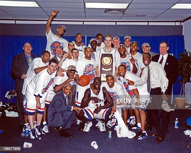The University of Connecticut men's basketball team celebrates in the lockerroom after wining the 1999 NCAA men's basketball championship St...