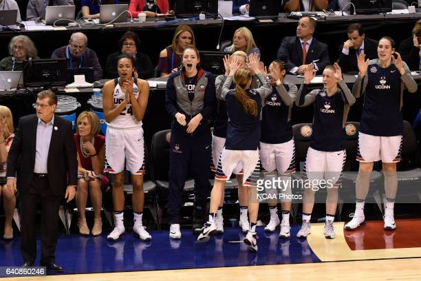The University of Connecticut takes on Syracuse University during the 2016 Women's Final Four held at Bankers Life Fieldhouse in Indianapolis IN...