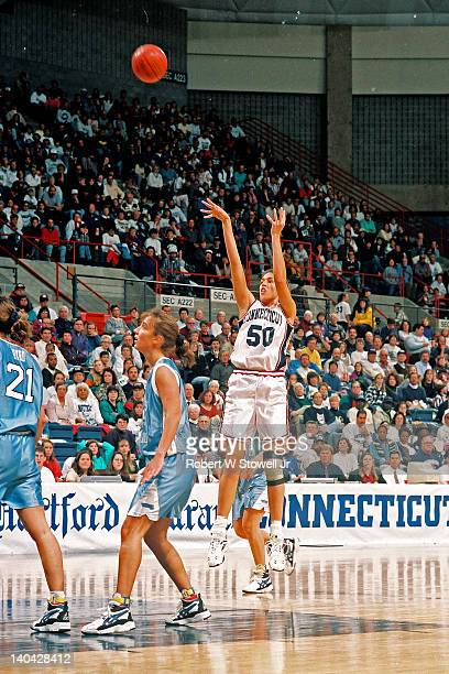 The University of Connecticut's Rebecca Lobo shoots a jumpshot against the University of Rhode Island Gampel Pavilion Storrs CT 1995
