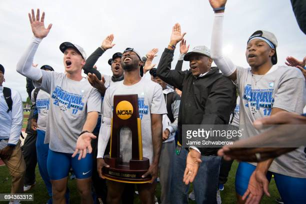 The University of Florida celebrates their team victory during the Division I Men's Outdoor Track Field Championship is held at Hayward Field on June...