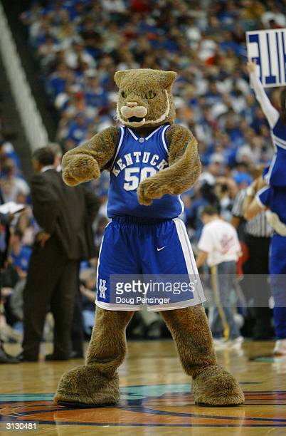 The University of Kentucky Wildcats mascot entertains the fan during an intermission in the in the SEC Men's Basketball Tournament against the...