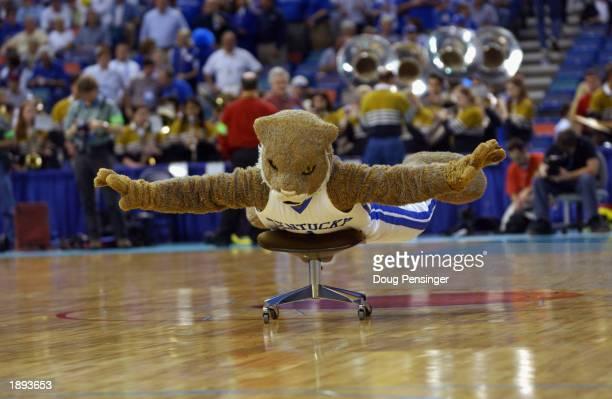 The University of Kentucky Wildcats mascot glides across the floor during the SEC Men's Basketball Tournament against Vanderbilt University at the...