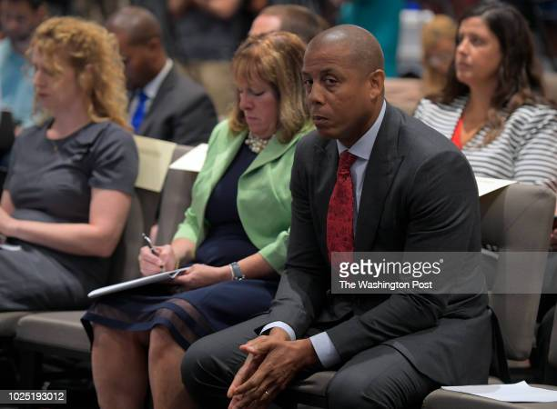 The University of Maryland hosted a news conference Tuesday afternoon with Director of Athletics Damon Evans shown here seated as University of...