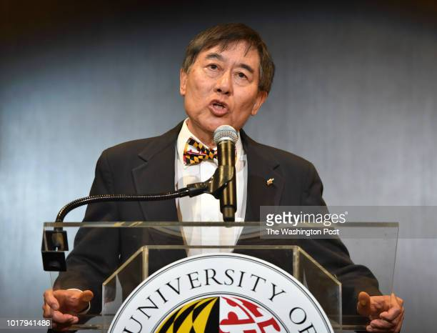 The University of Maryland President Wallace D Loh pictured and Athletic Director Damon Evans hold a press conference on August 2018 in College Park...