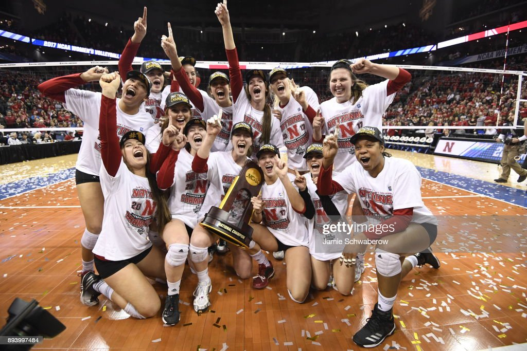 The University of Nebraska celebrates with the national championship trophy during the Division I Women's Volleyball Championship held at Sprint Center on December 16, 2017 in Kansas City, Missouri.