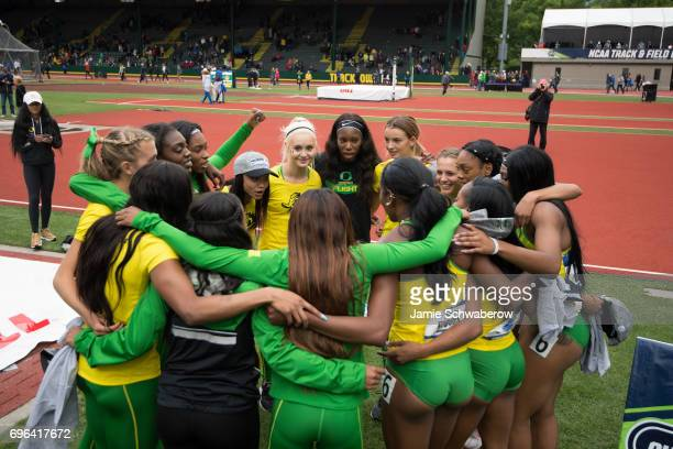 The University of Oregon celebrates their victory during the Division I Women's Outdoor Track Field Championship held at Hayward Field on June 10...