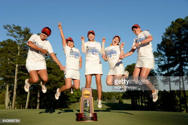 The University of Southern California celebrates their victory following the Division I Women's Golf Championship takes place at the University of...