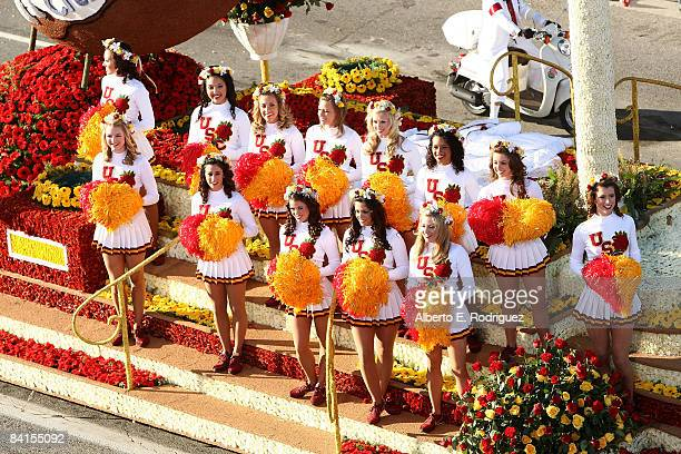 The University of Southern California cheerleaders perform at the 120th Tournament of Roses Parade January 1 2009 in Pasadena California