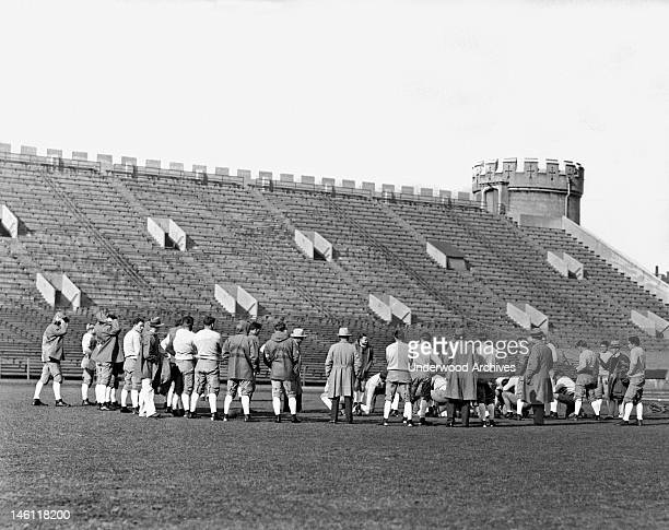 The University of Southern California football attempting to hold a secret practice at Stagg Field at the University of Chicago Chicago Illinois...