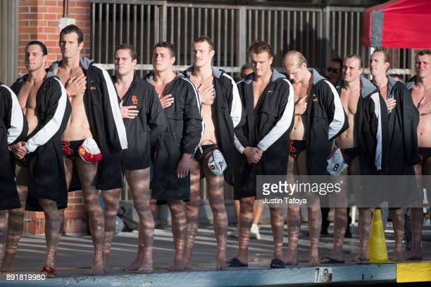 The University of Southern California is introduced during the Division I Men's Water Polo Championship held at the Uytengsu Aquatics Center on the...