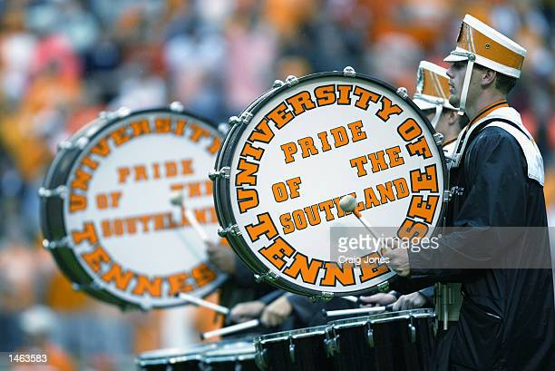 The University of Tennessee marching band drummers take the field during the Southeastern Conference football game between the Volunteers and the...