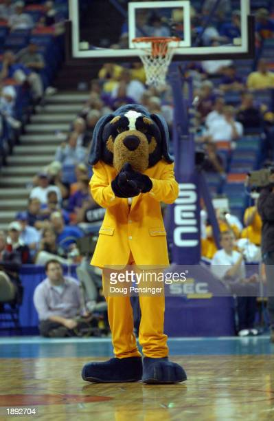 The University of Tennessee Volunteers mascot cheer on the court during the SEC Men's Basketball Tournament against Auburn University at the...